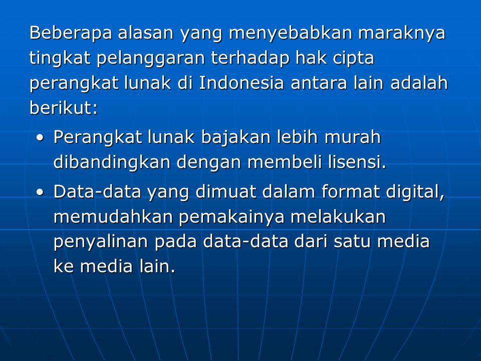 Beberapa alasan yang menyebabkan maraknya tingkat pelanggaran terhadap hak cipta perangkat lunak di Indonesia antara lain adalah berikut: Perangkat lunak bajakan lebih murah dibandingkan dengan membeli lisensi.Perangkat lunak bajakan lebih murah dibandingkan dengan membeli lisensi.