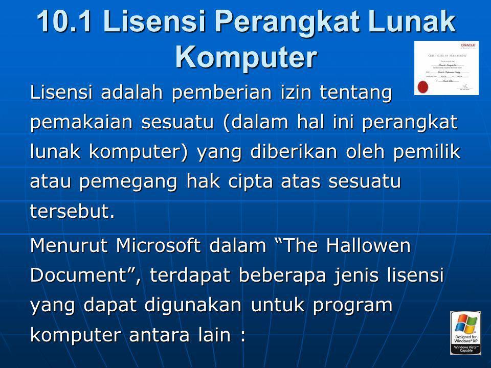 10.1 Lisensi Perangkat Lunak Komputer Lisensi adalah pemberian izin tentang pemakaian sesuatu (dalam hal ini perangkat lunak komputer) yang diberikan oleh pemilik atau pemegang hak cipta atas sesuatu tersebut.