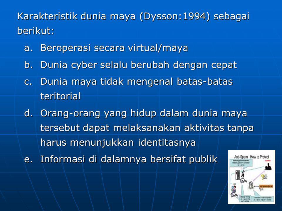 Karakteristik dunia maya (Dysson:1994) sebagai berikut: a.Beroperasi secara virtual/maya b.Dunia cyber selalu berubah dengan cepat c.Dunia maya tidak