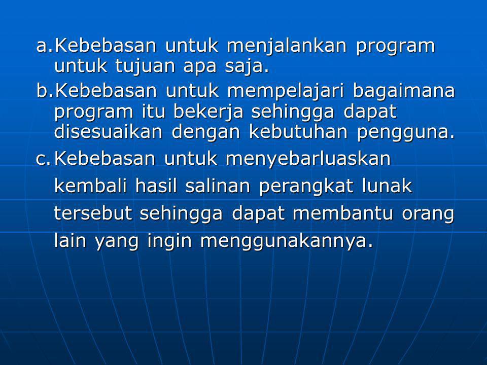 a.Kebebasan untuk menjalankan program untuk tujuan apa saja. b.Kebebasan untuk mempelajari bagaimana program itu bekerja sehingga dapat disesuaikan de