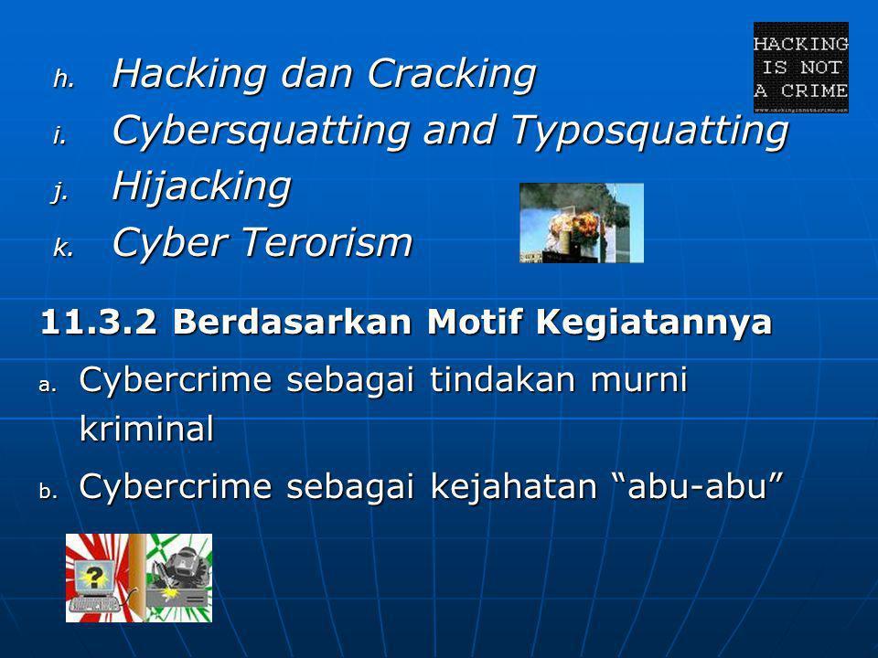 h. Hacking dan Cracking i. Cybersquatting and Typosquatting j. Hijacking k. Cyber Terorism 11.3.2 Berdasarkan Motif Kegiatannya a. Cybercrime sebagai