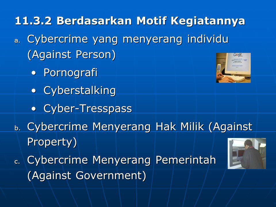 11.3.2 Berdasarkan Motif Kegiatannya a. Cybercrime yang menyerang individu (Against Person) PornografiPornografi CyberstalkingCyberstalking Cyber-Tres