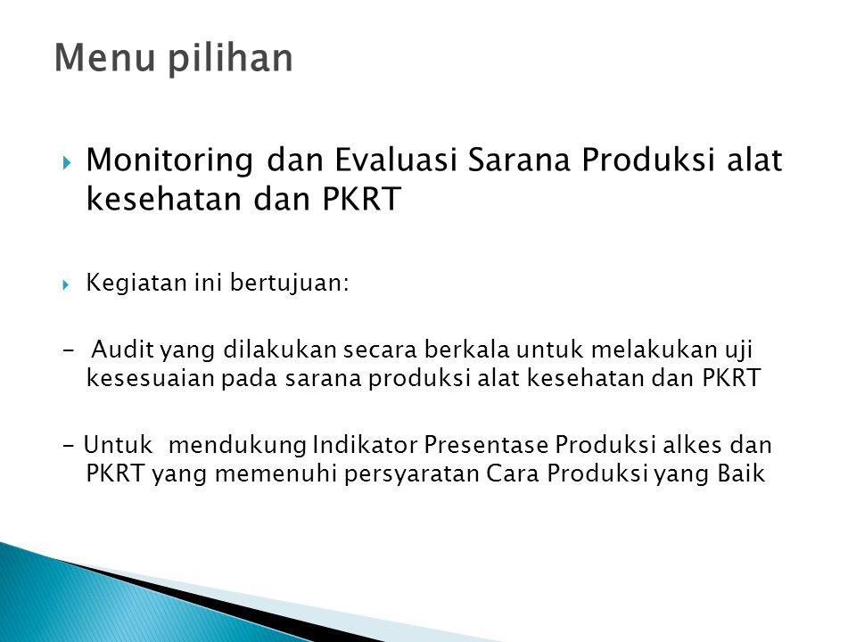 Menu pilihan  Monitoring dan Evaluasi Sarana Produksi alat kesehatan dan PKRT  Kegiatan ini bertujuan: - Audit yang dilakukan secara berkala untuk m