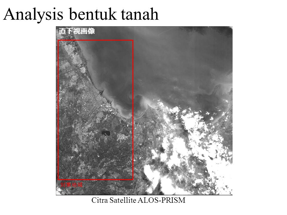 Analysis bentuk tanah 対象地域 直下視画像 Citra Satellite ALOS-PRISM