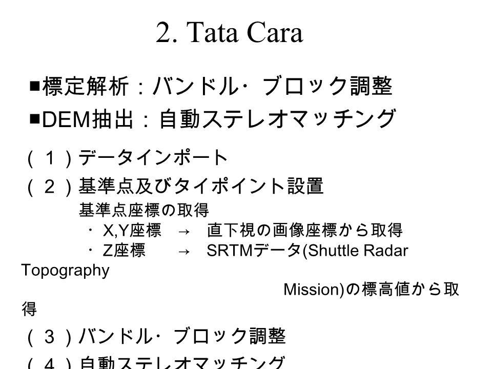 (1)データインポート (2)基準点及びタイポイント設置 基準点座標の取得 ・ X,Y 座標 → 直下視の画像座標から取得 ・ Z 座標 → SRTM データ (Shuttle Radar Topography Mission) の標高値から取 得 (3)バンドル・ブロック調整 (4)自動ステレオマッチング ・ DEM データの間隔: 10m ■ 標定解析:バンドル・ブロック調整 ■DEM 抽出:自動ステレオマッチング 2.
