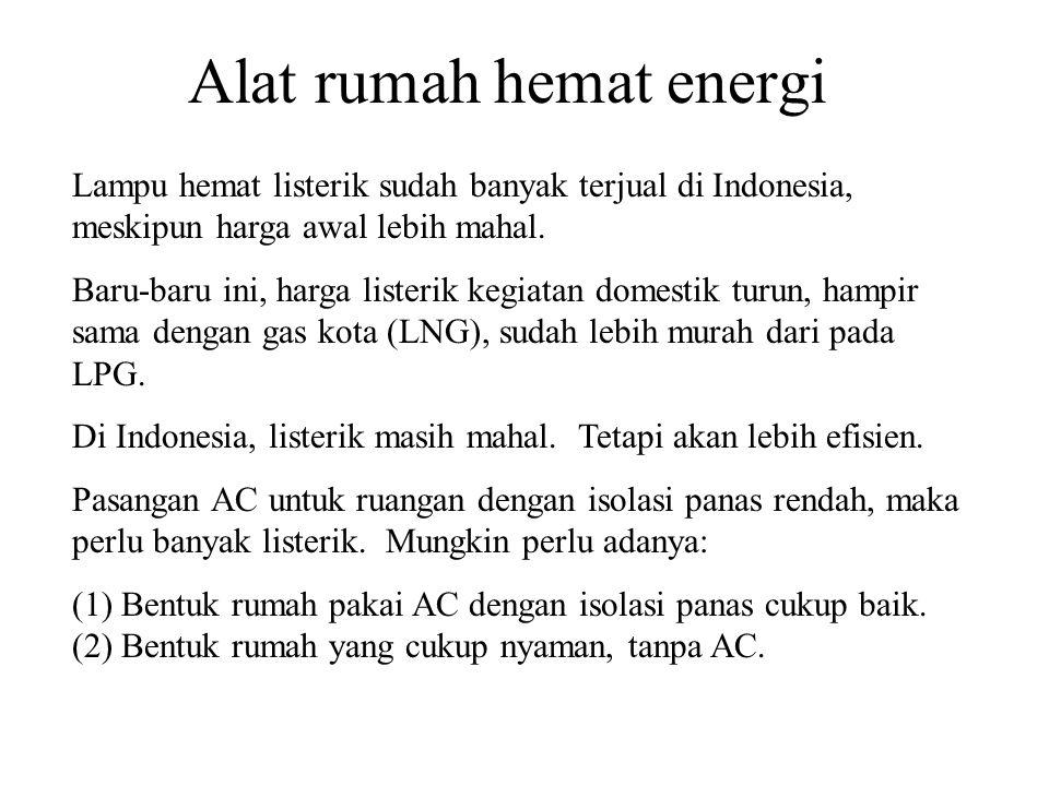 Alat rumah hemat energi Lampu hemat listerik sudah banyak terjual di Indonesia, meskipun harga awal lebih mahal.
