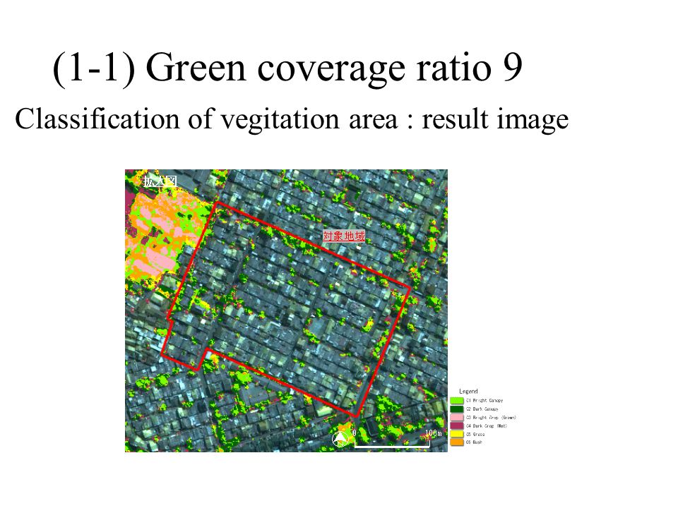 (1-1) Green coverage ratio 9 Classification of vegitation area : result image