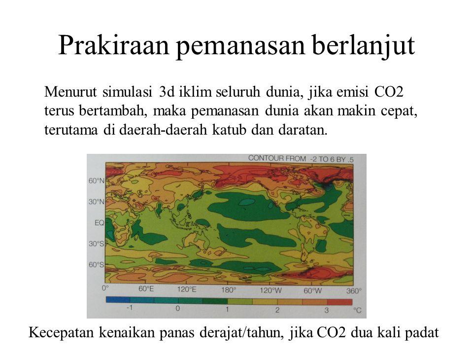 Prakiraan pemanasan berlanjut Menurut simulasi 3d iklim seluruh dunia, jika emisi CO2 terus bertambah, maka pemanasan dunia akan makin cepat, terutama di daerah-daerah katub dan daratan.