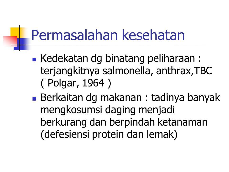 Permasalahan kesehatan Kedekatan dg binatang peliharaan : terjangkitnya salmonella, anthrax,TBC ( Polgar, 1964 ) Berkaitan dg makanan : tadinya banyak