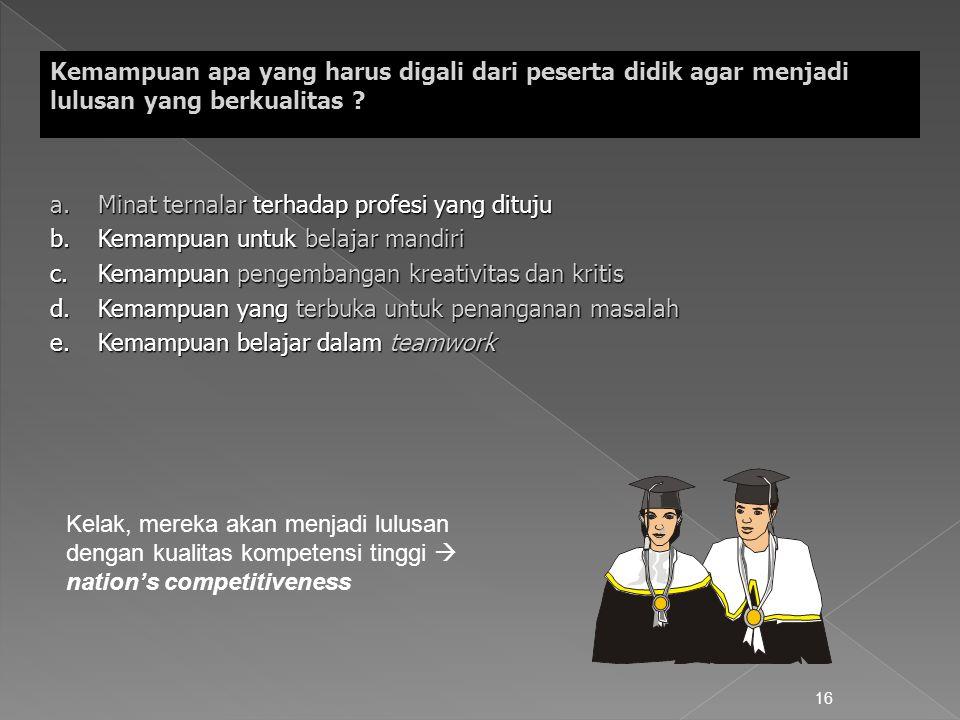 16 Kemampuan apa yang harus digali dari peserta didik agar menjadi lulusan yang berkualitas ? a.Minat ternalar terhadap profesi yang dituju b.Kemampua