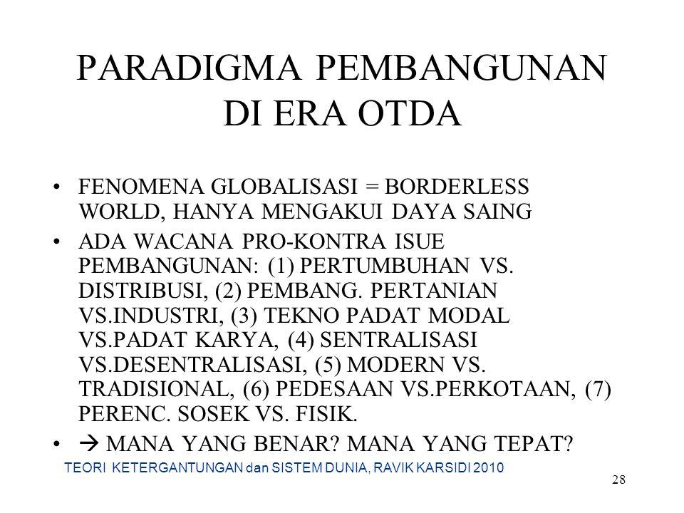 TEORI KETERGANTUNGAN dan SISTEM DUNIA, RAVIK KARSIDI 2010 28 PARADIGMA PEMBANGUNAN DI ERA OTDA FENOMENA GLOBALISASI = BORDERLESS WORLD, HANYA MENGAKUI