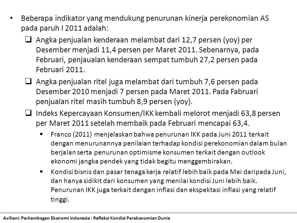 Aviliani: Perkembagan Ekonomi Indonesia : Refleksi Kondisi Perekonomian Dunia Beberapa indikator yang mendukung penurunan kinerja perekonomian AS pada paruh I 2011 adalah:  Angka penjualan kenderaan melambat dari 12,7 persen (yoy) per Desember menjadi 11,4 persen per Maret 2011.