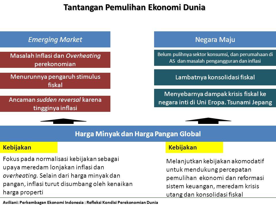 Aviliani: Perkembagan Ekonomi Indonesia : Refleksi Kondisi Perekonomian Dunia Tantangan Pemulihan Ekonomi Dunia 2 Emerging MarketNegara Maju Masalah Inflasi dan Overheating perekonomian Belum pulihnya sektor konsumsi, dan perumahaan di AS dan masalah pengangguran dan inflasi Lambatnya konsolidasi fiskal Menyebarnya dampak krisis fiskal ke negara inti di Uni Eropa.