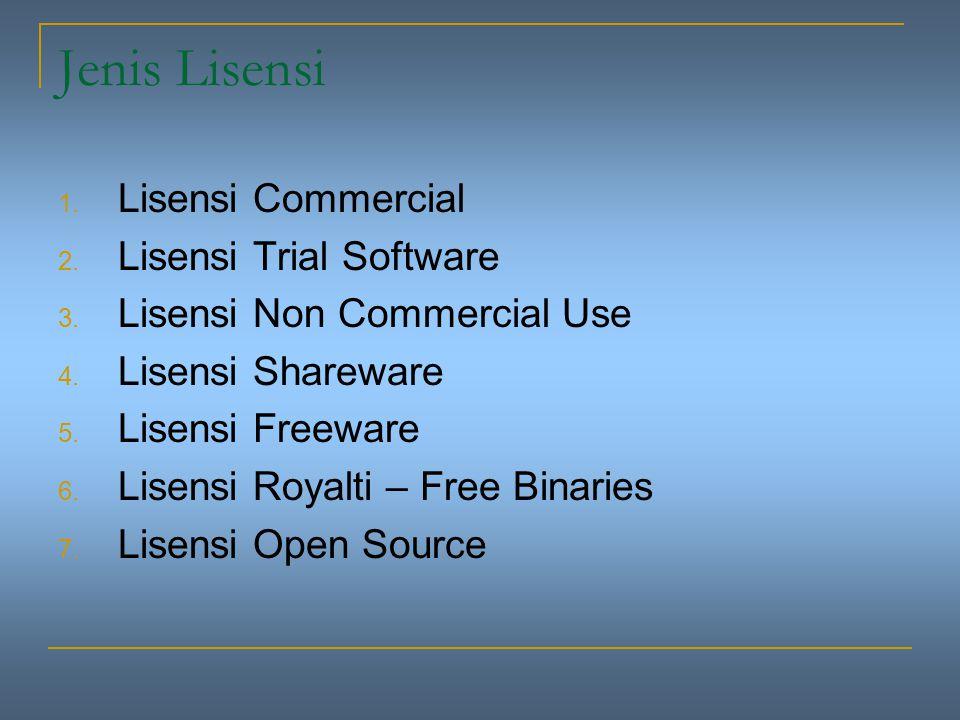 Perangkat Lunak Bebas Pemberian lisensi program komputer, diwarnai dengan dua kecenderungan utama yaitu: 1.