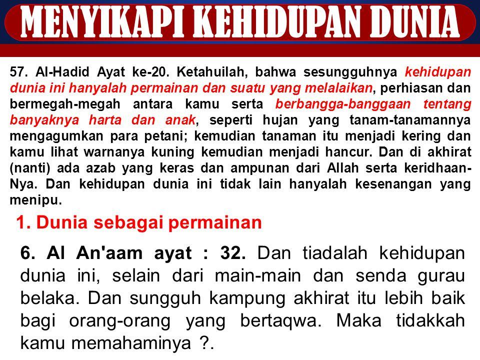 MENYIKAPI KEHIDUPAN DUNIA 57. Al-Hadid Ayat ke-20. Ketahuilah, bahwa sesungguhnya kehidupan dunia ini hanyalah permainan dan suatu yang melalaikan, pe