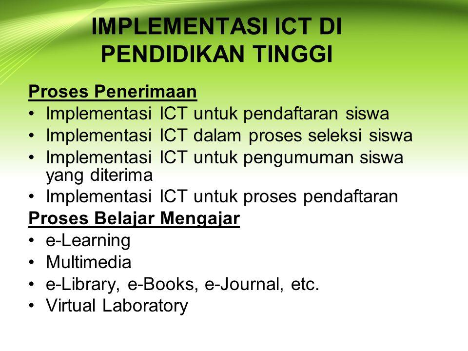 IMPLEMENTASI ICT DI PENDIDIKAN TINGGI Proses Penerimaan Implementasi ICT untuk pendaftaran siswa Implementasi ICT dalam proses seleksi siswa Implement