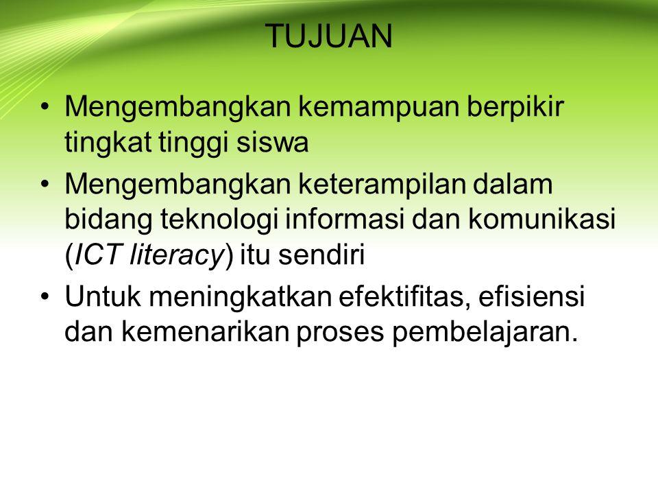 KONSEP Menurut UNESCO (2003) ada 4 level dalam ICT Emerging; menyadari pentingnya ICT untuk pendidikan Applying; mulai menjadikan ICT sebagai obyek yang harus dikuasai/dipelajari (learning to use ICT); Integrating; menjadikan ICT sebagai media pembelajaran (using ICT to learn) Transforming; menjadikan ICT sebagai katalist pembaharuan pembelajaran Indonesia masih berada pada level applying atau dengan kata lain masih dalam tahap Learning to Use ICT .