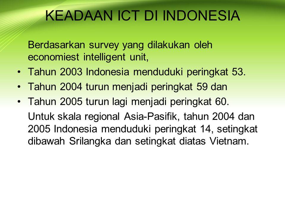 KEADAAN ICT DI INDONESIA Berdasarkan survey yang dilakukan oleh economiest intelligent unit, Tahun 2003 Indonesia menduduki peringkat 53. Tahun 2004 t