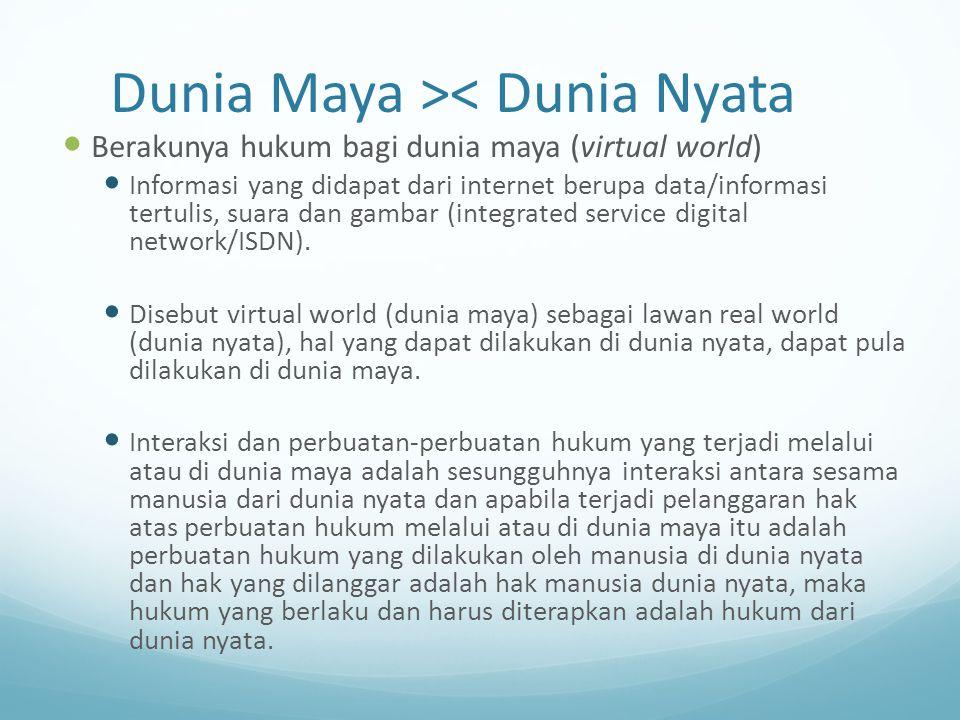Dunia Maya >< Dunia Nyata Berakunya hukum bagi dunia maya (virtual world) Informasi yang didapat dari internet berupa data/informasi tertulis, suara d