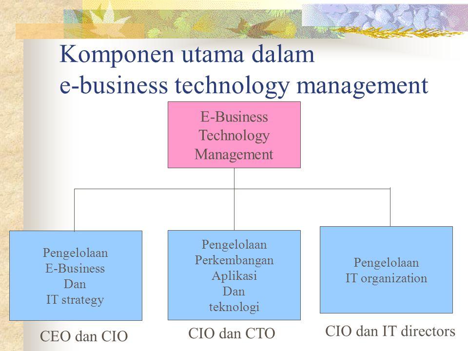 Komponen utama dalam e-business technology management E-Business Technology Management Pengelolaan IT organization Pengelolaan Perkembangan Aplikasi D