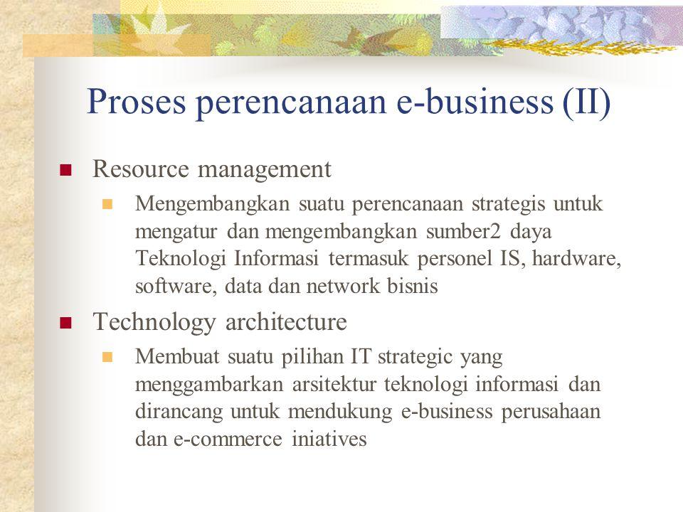 Proses perencanaan e-business (II) Resource management Mengembangkan suatu perencanaan strategis untuk mengatur dan mengembangkan sumber2 daya Teknologi Informasi termasuk personel IS, hardware, software, data dan network bisnis Technology architecture Membuat suatu pilihan IT strategic yang menggambarkan arsitektur teknologi informasi dan dirancang untuk mendukung e-business perusahaan dan e-commerce iniatives