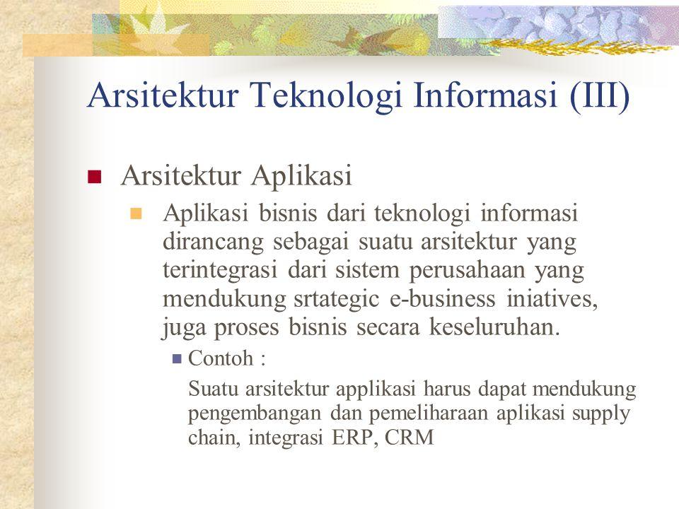 Arsitektur Teknologi Informasi (III) Arsitektur Aplikasi Aplikasi bisnis dari teknologi informasi dirancang sebagai suatu arsitektur yang terintegrasi dari sistem perusahaan yang mendukung srtategic e-business iniatives, juga proses bisnis secara keseluruhan.
