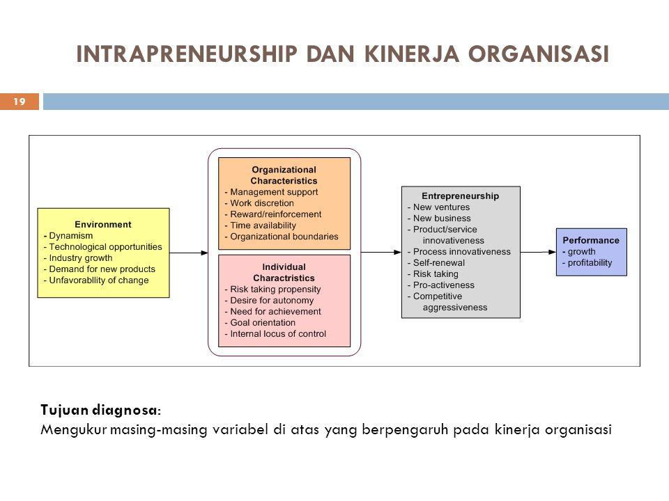 DIAGNOSA ORGANISASI 1. Review strategi yang ada sekarang untuk mendukung kegiatan entreprenurship. 2. Review lingkungan organisasi. 3. Review pemahama