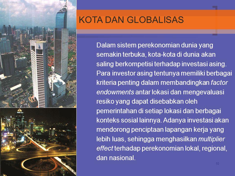 10 Dalam sistem perekonomian dunia yang semakin terbuka, kota-kota di dunia akan saling berkompetisi terhadap investasi asing. Para investor asing ten