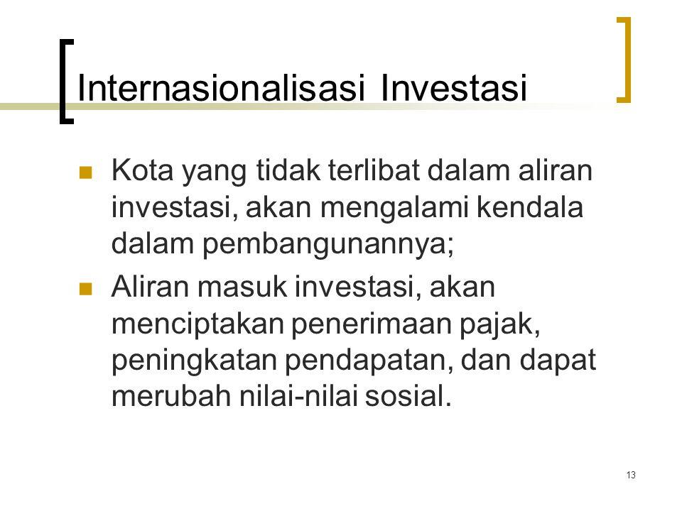 13 Internasionalisasi Investasi Kota yang tidak terlibat dalam aliran investasi, akan mengalami kendala dalam pembangunannya; Aliran masuk investasi, akan menciptakan penerimaan pajak, peningkatan pendapatan, dan dapat merubah nilai-nilai sosial.