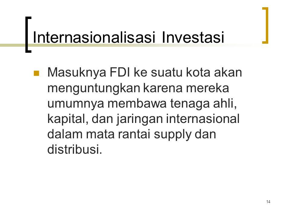 14 Internasionalisasi Investasi Masuknya FDI ke suatu kota akan menguntungkan karena mereka umumnya membawa tenaga ahli, kapital, dan jaringan internasional dalam mata rantai supply dan distribusi.