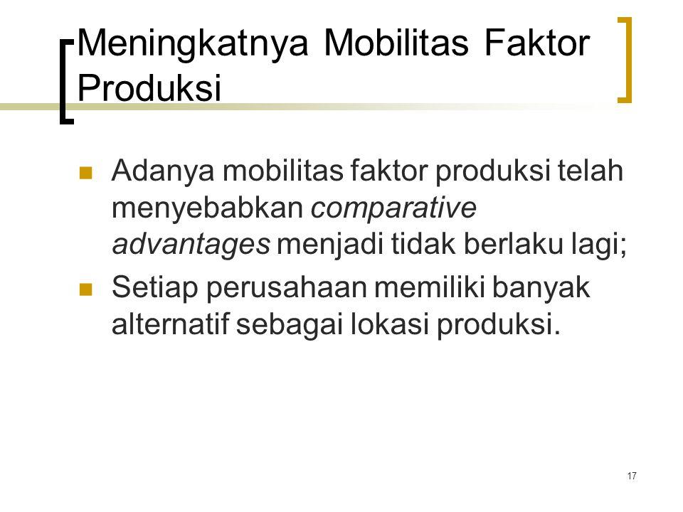 17 Meningkatnya Mobilitas Faktor Produksi Adanya mobilitas faktor produksi telah menyebabkan comparative advantages menjadi tidak berlaku lagi; Setiap perusahaan memiliki banyak alternatif sebagai lokasi produksi.