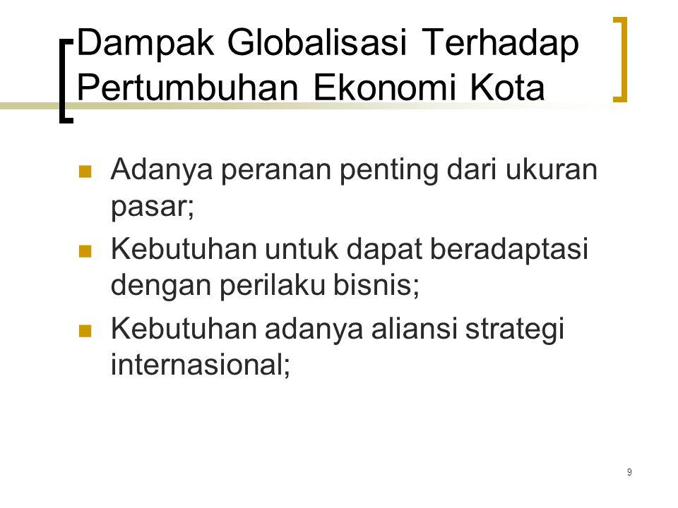 9 Dampak Globalisasi Terhadap Pertumbuhan Ekonomi Kota Adanya peranan penting dari ukuran pasar; Kebutuhan untuk dapat beradaptasi dengan perilaku bisnis; Kebutuhan adanya aliansi strategi internasional;