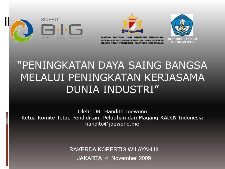 Referensi kegiatan Kerjasama KADIN Indonesia dan Ditjen Pendidikan Tinggi-Depdiknas Esensi MOU KADIN-DIKTI di Munas KADIN, 19 Desember 2008
