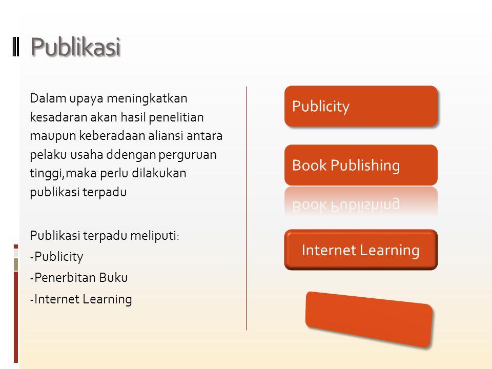 Publikasi Dalam upaya meningkatkan kesadaran akan hasil penelitian maupun keberadaan aliansi antara pelaku usaha ddengan perguruan tinggi,maka perlu dilakukan publikasi terpadu Publikasi terpadu meliputi: - Publicity - Penerbitan Buku - Internet Learning Publicity Internet Learning