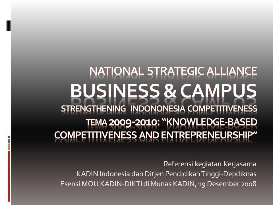 Program Sudah, Sedang dan Akan Berjalan Sinergi Dunia Usaha dan Perguruan Tinggi, KADIN-DIKTI  Launching Program BIG  Workshop Kewirausahaan Mahasiswa dan TOT Dosen di 6 kota: UPI Bandung (8-9 Okt), UII Jogja (15-16 Okt), ITS Surabaya (22-23 Okt), USU Medan (29-30 Okt), Unhas-Makasar (5-6 Nov), UI Depok (12- 13 Nov)  Portal Sinergi BIG  FGD Perguruan Tinggi-Dunia Usaha (14 Nov)  Formulasi Program Sinergi Dunia Usaha-Perg Tinggi  Konvensi Sinergi Dunia Usaha-Perguruan Tinggi (tentatif 19-21 Nov)