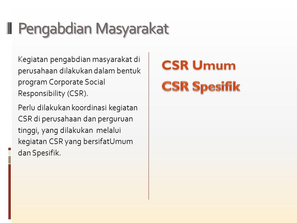 Pengabdian Masyarakat Kegiatan pengabdian masyarakat di perusahaan dilakukan dalam bentuk program Corporate Social Responsibility (CSR).