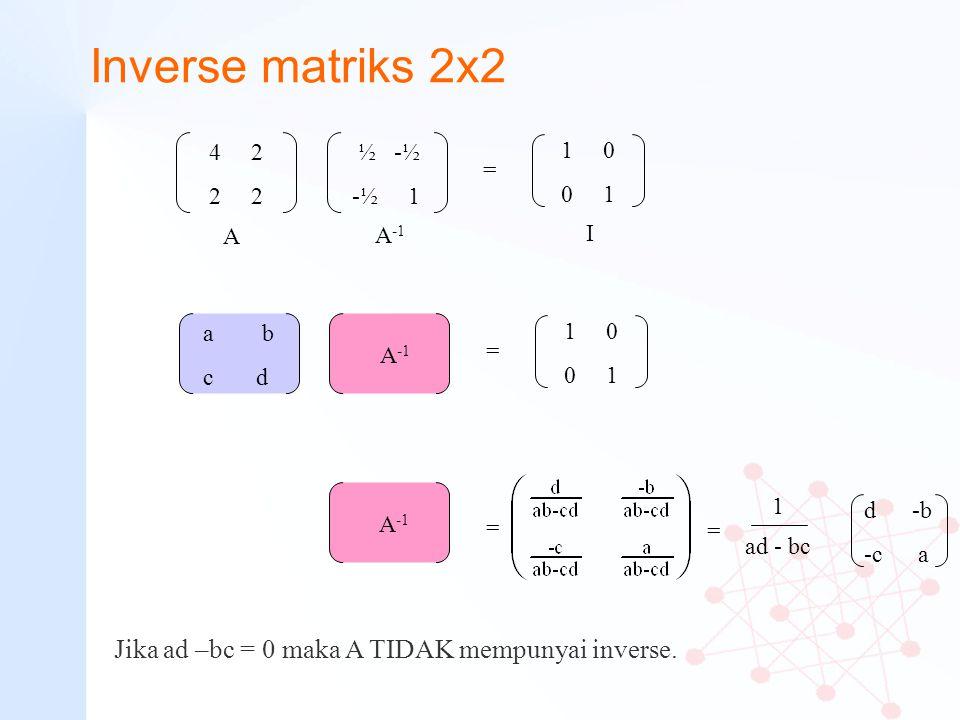 Inverse matriks 2x2 4 2 2 ½ -½ -½ 1 1 0 0 1 d -b -c a 1 ad - bc Jika ad –bc = 0 maka A TIDAK mempunyai inverse. = A I A -1 a b c d A -1 1 0 0 1 = A -1