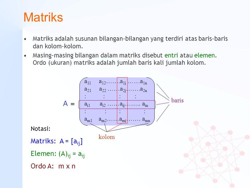 Matriks Matriks adalah susunan bilangan-bilangan yang terdiri atas baris-baris dan kolom-kolom. Masing-masing bilangan dalam matriks disebut entri ata