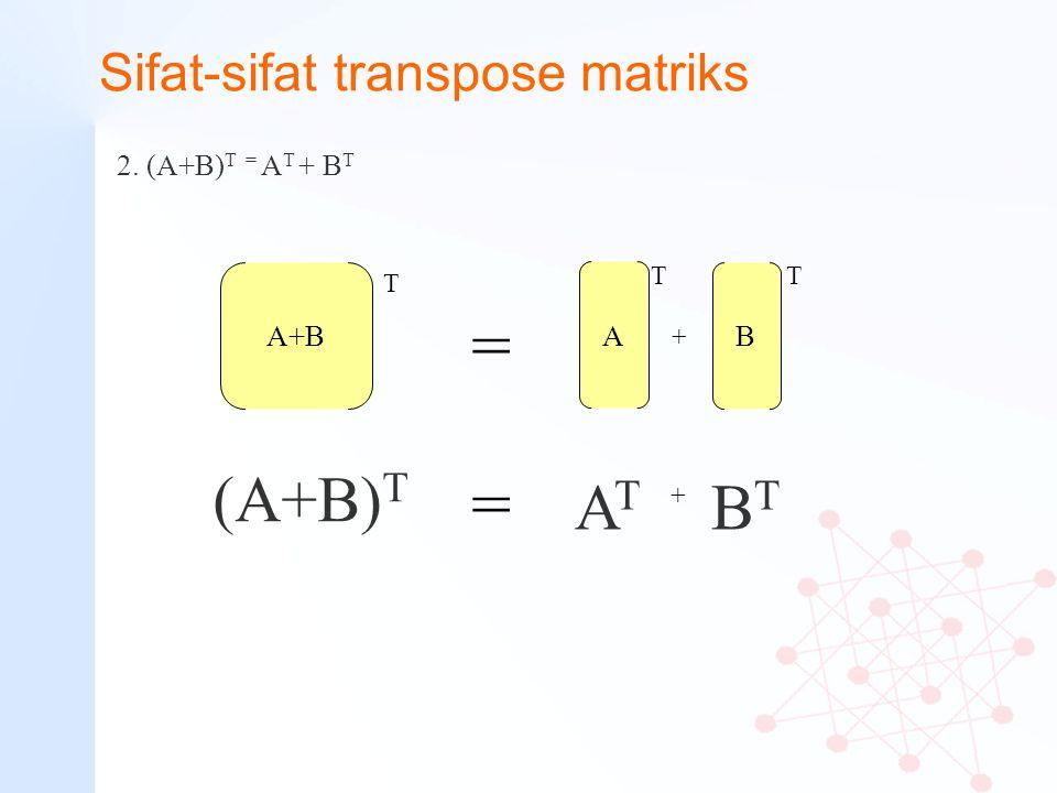 Sifat-sifat transpose matriks 2. (A+B) T = A T + B T A+B (A+B) T T BTBT B T A T ATAT = = + +