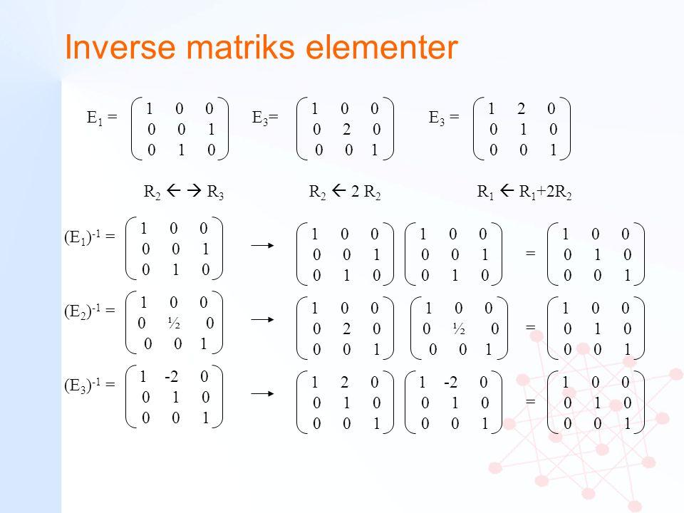 Inverse matriks elementer 1 0 0 0 0 1 0 1 0 E 1 = R 2   R 3 1 0 0 0 0 1 0 1 0 (E 1 ) -1 = 1 0 0 0 0 1 0 1 0 1 0 0 0 0 1 0 1 0 1 0 0 0 1 0 0 0 1 = 1