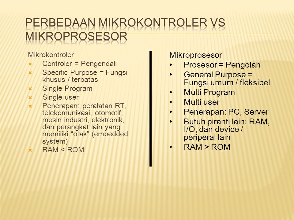 Mikrokontroler  Controler = Pengendali  Specific Purpose = Fungsi khusus / terbatas  Single Program  Single user  Penerapan: peralatan RT, telekomunikasi, otomotif, mesin industri, elektronik, dan perangkat lain yang memiliki otak (embedded system)  RAM < ROM Mikroprosesor Prosesor = Pengolah General Purpose = Fungsi umum / fleksibel Multi Program Multi user Penerapan: PC, Server Butuh piranti lain: RAM, I/O, dan device / periperal lain RAM > ROM