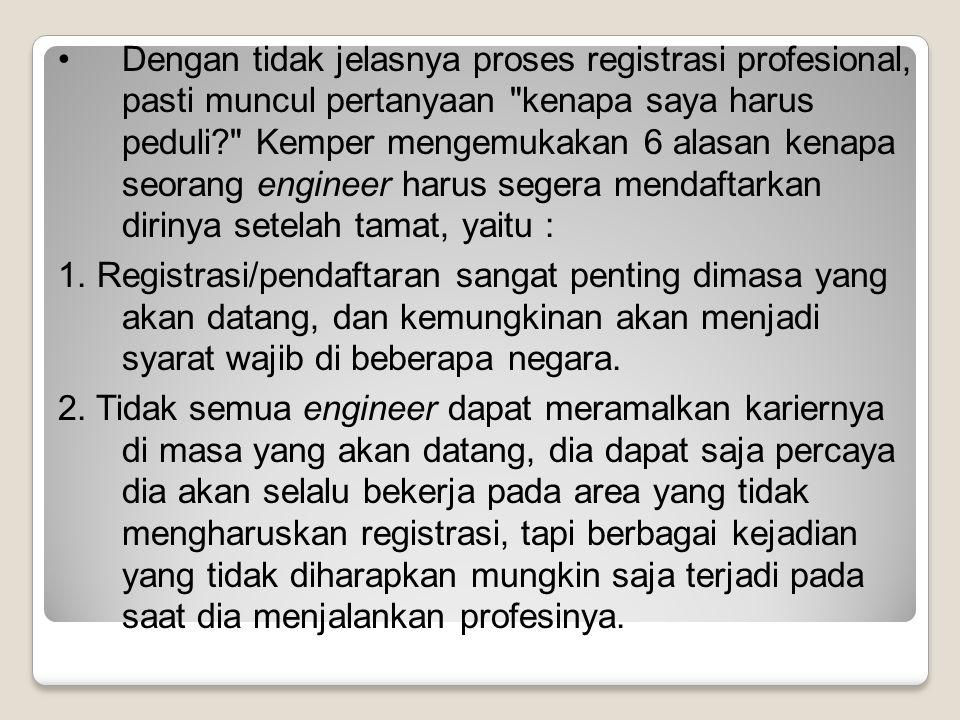 Dengan tidak jelasnya proses registrasi profesional, pasti muncul pertanyaan