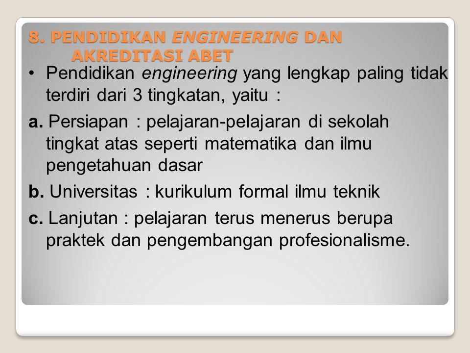 Pendidikan engineering yang lengkap paling tidak terdiri dari 3 tingkatan, yaitu : a. Persiapan : pelajaran-pelajaran di sekolah tingkat atas seperti