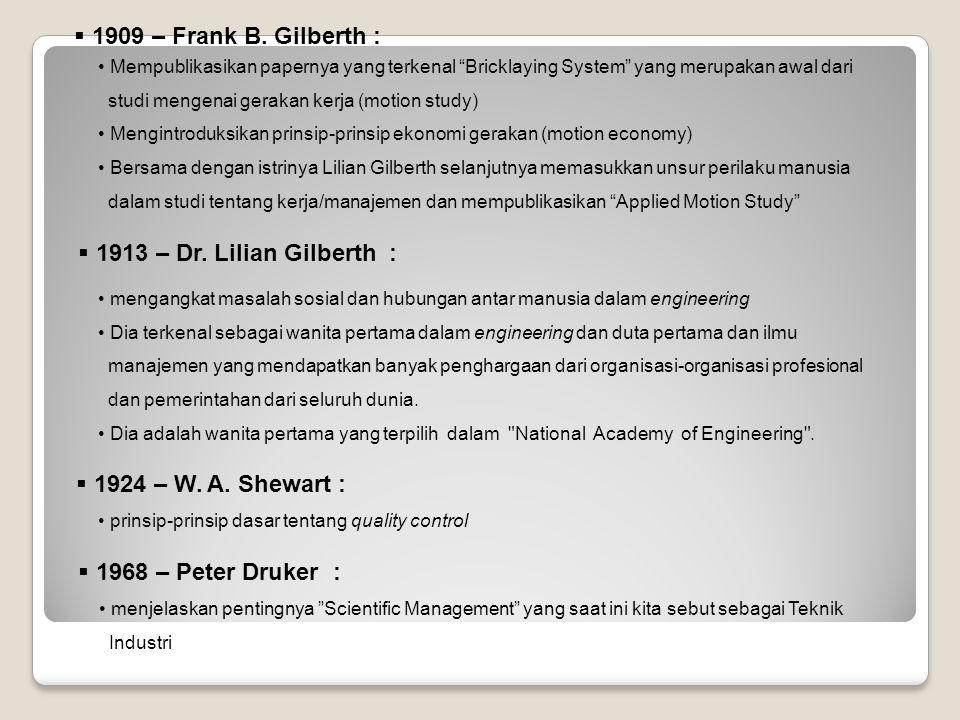  1913 – Dr. Lilian Gilberth : mengangkat masalah sosial dan hubungan antar manusia dalam engineering Dia terkenal sebagai wanita pertama dalam engine
