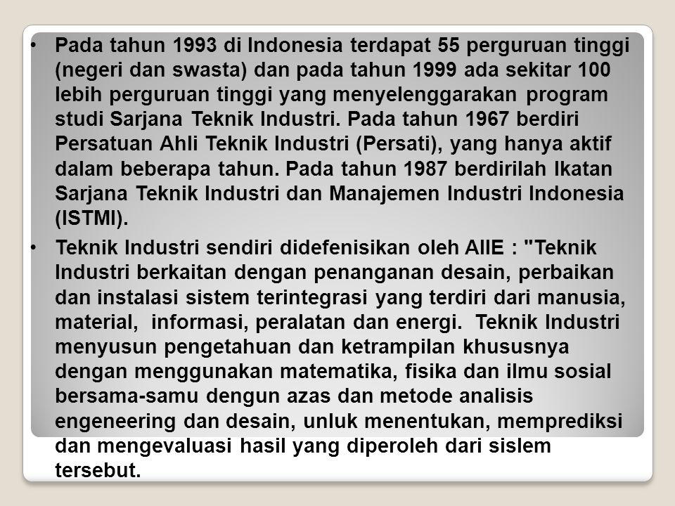 Pada tahun 1993 di Indonesia terdapat 55 perguruan tinggi (negeri dan swasta) dan pada tahun 1999 ada sekitar 100 lebih perguruan tinggi yang menyelen