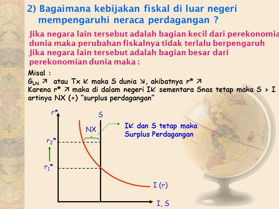 2) Bagaimana kebijakan fiskal di luar negeri mempengaruhi neraca perdagangan ? Jika negara lain tersebut adalah bagian kecil dari perekonomian dunia m