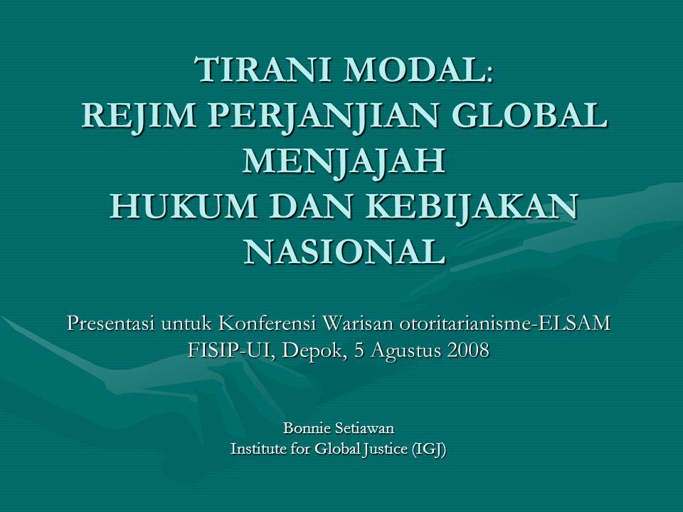 5 Agustus 2008Bonnie Setiawan, Tirani Modal, 200832 REJIM PERDAGANGAN BARU: FTA (FREE TRADE AGREEMENT) Perjanjian perdagangan (trade agreement) sebenarnya mengenai 3 hal: 1.Multilateral Trade Agreements (MTAs) : WTO 2.Regional Trade Agreements (RTAs) : NAFTA, AFTA 3.Bilateral Trade Agreements (BTAs) : Antara 2 negara (Indonesia-Japan EPA);Antara 2 negara (Indonesia-Japan EPA); Antara sebuah blok/kawasan dengan sebuah negara (mis.