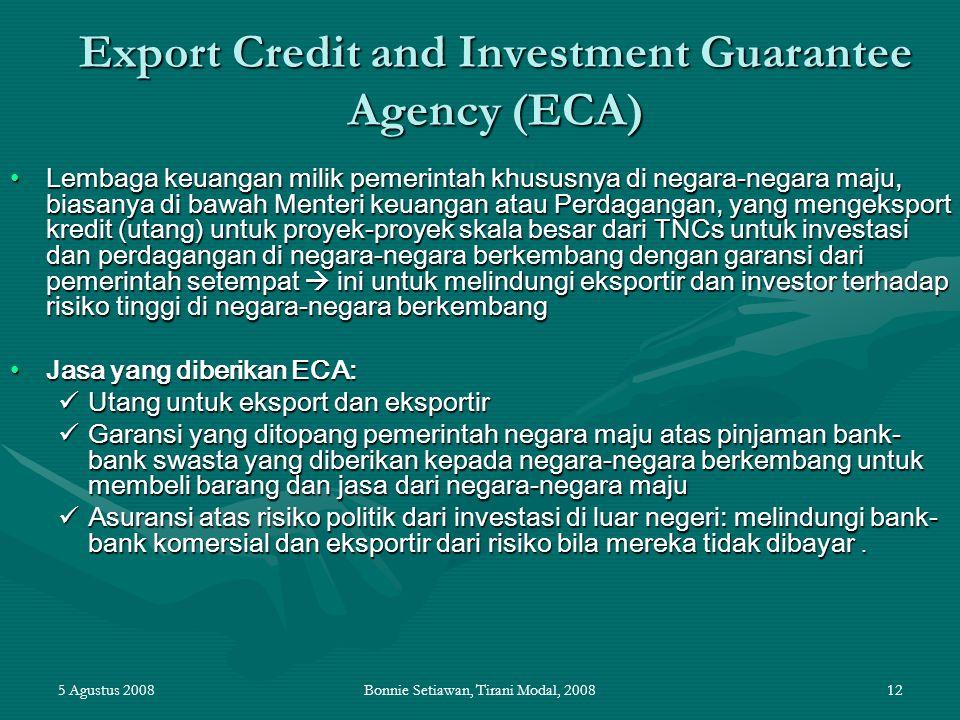 5 Agustus 2008Bonnie Setiawan, Tirani Modal, 200812 Export Credit and Investment Guarantee Agency (ECA) Lembaga keuangan milik pemerintah khususnya di