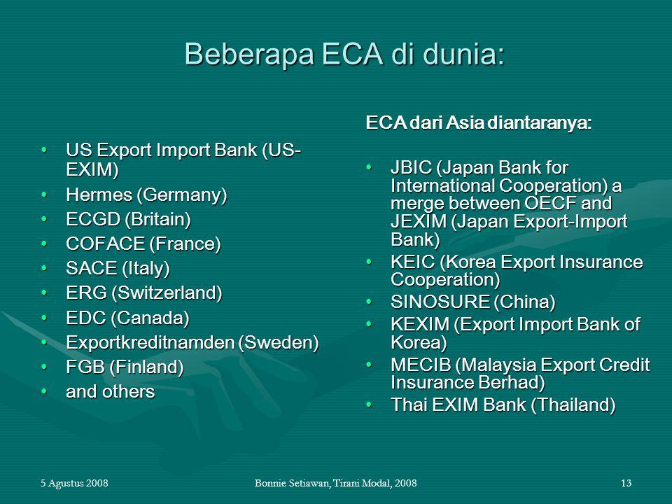 5 Agustus 2008Bonnie Setiawan, Tirani Modal, 200813 Beberapa ECA di dunia: US Export Import Bank (US- EXIM)US Export Import Bank (US- EXIM) Hermes (Ge