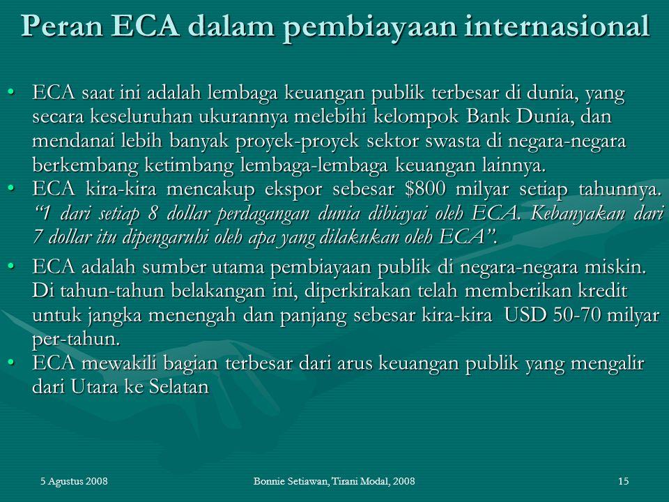 5 Agustus 2008Bonnie Setiawan, Tirani Modal, 200815 Peran ECA dalam pembiayaan internasional ECA saat ini adalah lembaga keuangan publik terbesar di d